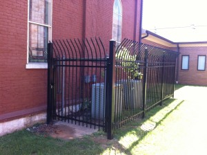Ornamental steel HVAC fence