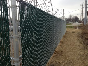 Commercial chain link with privacy slats